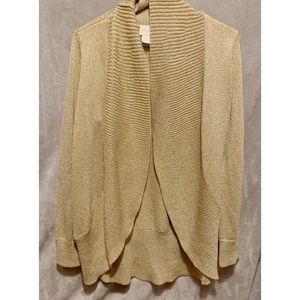 Chico's gold knit open cardigan sweater